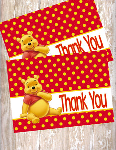 WINNIE THE POOH RED - PRINTABLE THANK YOU'S