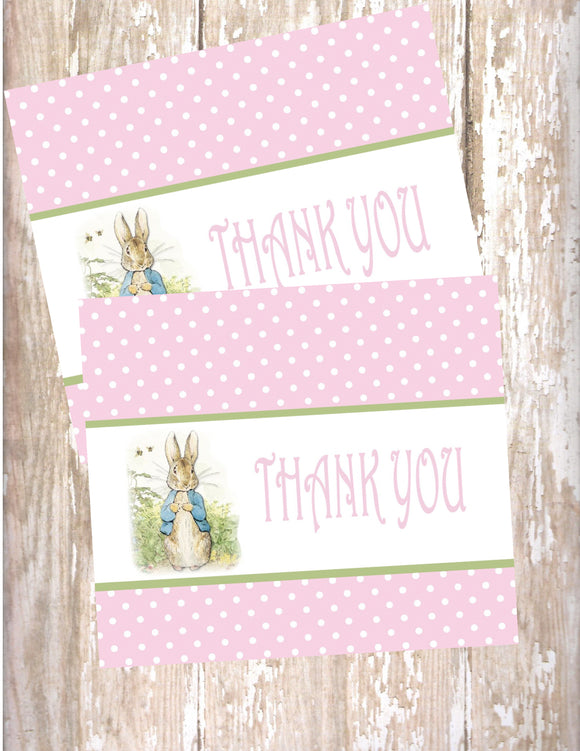 PETER RABBIT PINK - PRINTABLE THANK YOU CARDS - JPG/PDF