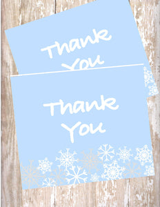 WINTER ONE-DERLAND BLUE - PRINTABLE THANK YOU'S