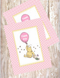 CLASSIC WINNIE THE POOH WITH BALLOON PINK - PRINTABLE BIRTHDAY INVITATION - FREE MATCHING THANK YOU