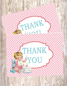 VINTAGE 1ST BIRTHDAY PINK - PRINTABLE THANK YOU'S