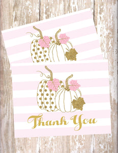 PUMPKIN PINK AND GOLD - PRINTABLE THANK YOU CARDS