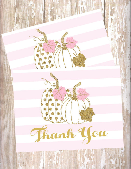PUMPKIN PINK AND GOLD - THANK YOU CARDS