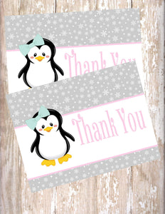 PENGUIN WINTER ONEDERLAND - PRINTABLE THANK YOU'S