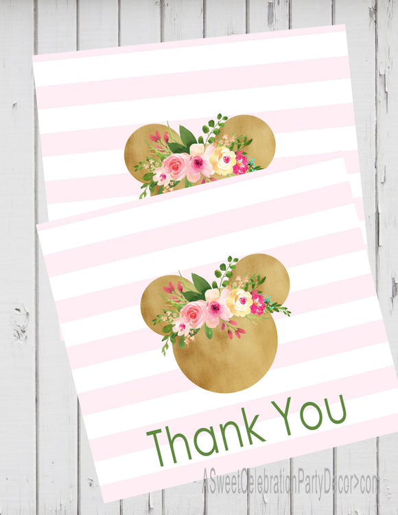 MINNIE MOUSE FLORAL WOODLAND - THANK YOU'S - JPG/PDF ONLY