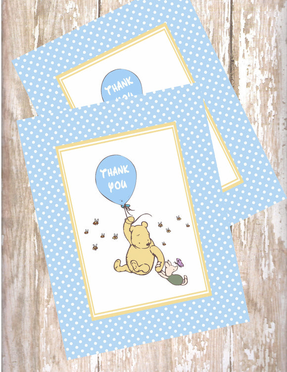 CLASSIC WINNIE THE POOH WITH BALLOON BLUE - PRINTABLE THANK YOU'S