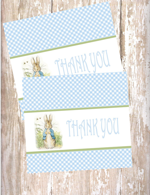 PETER RABBIT BLUE - PRINTABLE THANK YOU CARDS