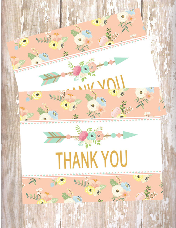 WILD ONE - BOHO - TRIBAL PRINTABLE THANK YOU'S