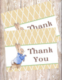 PETER RABBIT LINEN - PRINTABLE THANK YOU CARDS