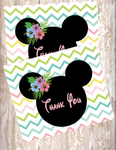 MINNIE MOUSE LUAU PASTEL - PRINTABLE THANK YOU'S