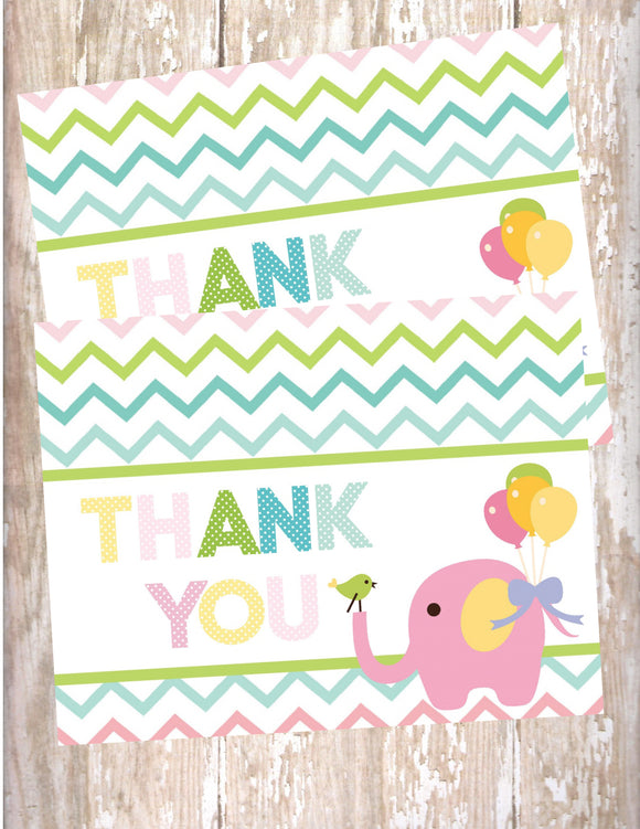 CIRCUS PINK ELEPHANT - PRINTABLE THANK YOU'S - JPG/PDF