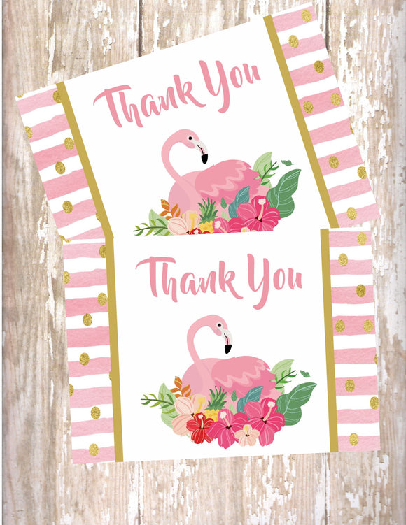 FLAMINGO PINK AND GOLD - PRINTABLE THANK YOU'S