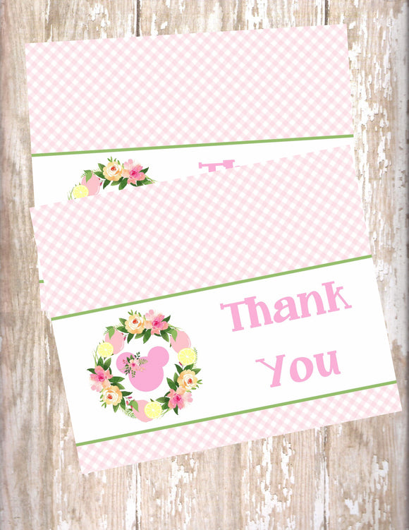 MINNIE MOUSE FLORAL LEMONADE - PRINTABLE THANK YOU'S