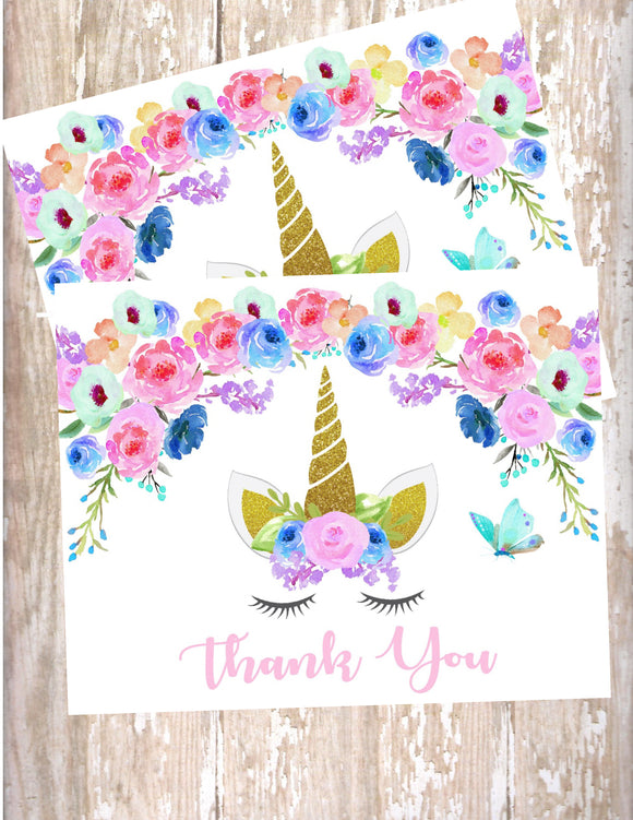 UNICORN FLORAL - PRINTABLE THANK YOU'S