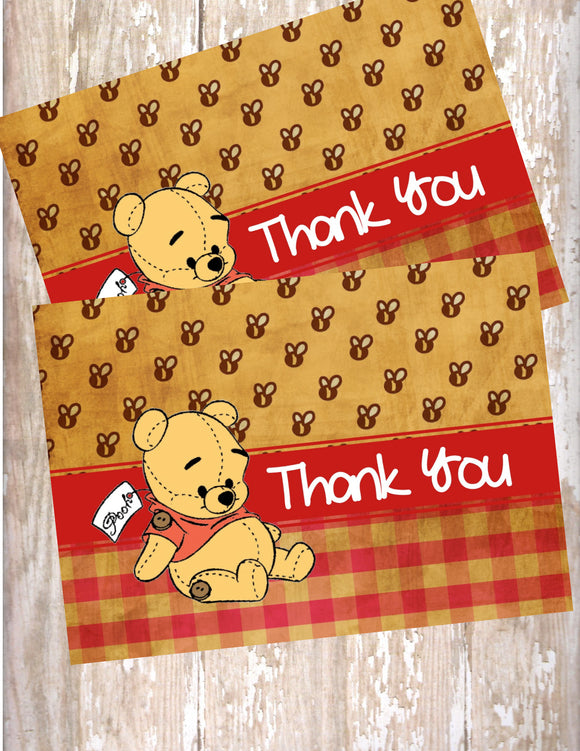 WINNIE THE POOH VINTAGE BEAR - BABY SHOWER - PRINTABLE THANK YOU'S - JPG/PDF