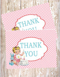 VINTAGE 1ST BIRTHDAY BLUE - PRINTABLE THANK YOU'S