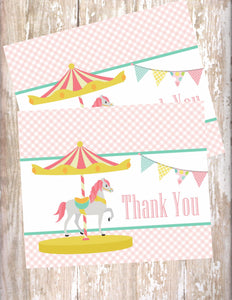 CAROUSEL HORSE - PRINTABLE THANK YOU'S
