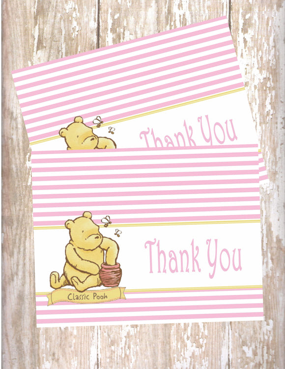 WINNIE THE POOH CLASSIC PINK - PRINTABLE THANK YOU'S