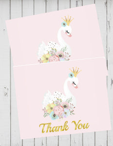 SWAN LAKE PRINCESS PINK AND GOLD - PRINTABLE THANK YOU'S - SWAN LAKE  BALLET NUTCRACKER