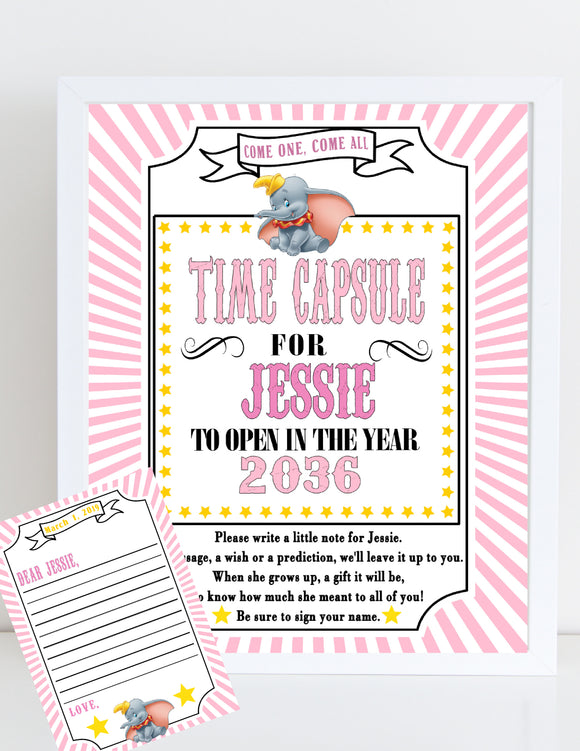 DUMBO - 1st BIRTHDAY - PRINTABLE TIME CAPSULE - PINK