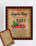 LITTLE RED TRUCK WITH CHRISTMAS TREE - PRINTABLE 1st BIRTHDAY TIME CAPSULE