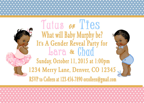 GENDER REVEAL  - TUTUS OR TIES - PRINTABLE  INVITATION - FREE MATCHING THANK YOU - JPG/PDF