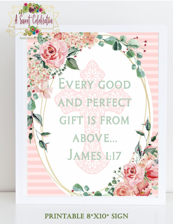BAPTISM FLORAL BLUSH  - BIBLE VERSE SIGN JPG ONLY  - 1ST COMMUNION - CHRISTENING - INSTANT DOWNLOAD