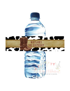 COWBOY - WATERPROOF WATER BOTTLE LABELS