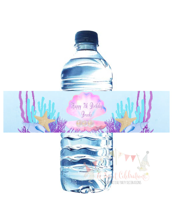 MERMAID - UNDER THE SEA - WATERPROOF WATER BOTTLE LABEL