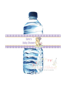 WINNIE THE POOH AND PIGLET LAVENDER - PRINTABLE WATER BOTTLE LABEL