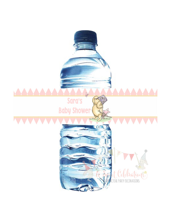 WINNIE THE POOH AND PIGLET PINK - WATERPROOF WATER BOTTLE LABEL