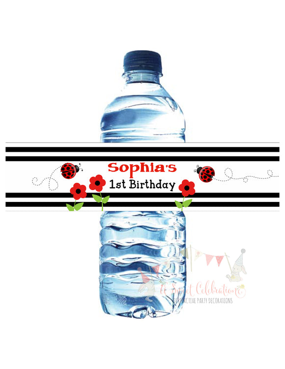 LADYBUG - WATERPROOF WATER BOTTLE LABELS