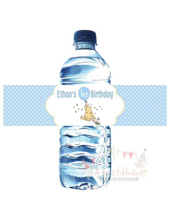 CLASSIC WINNIE THE POOH WITH BALLOON BLUE - PRINTABLE WATER BOTTLE LABEL