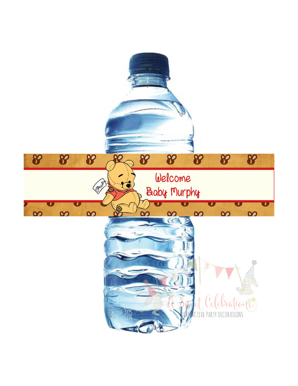 WINNIE THE POOH VINTAGE BEAR - PRINTABLE WATER BOTTLE LABEL - JPG/PDF