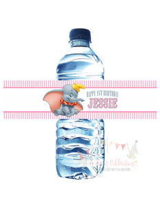 DUMBO - BIRTHDAY - WATERPROOF WATER BOTTLE LABEL - PINK