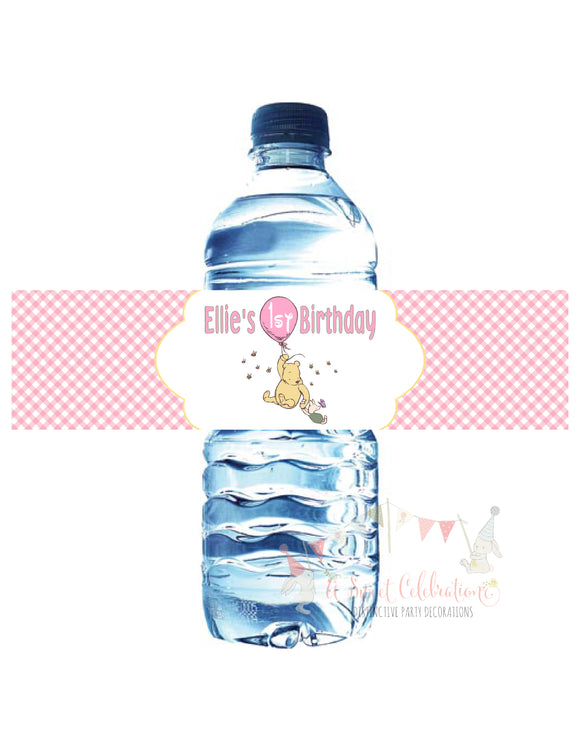 CLASSIC WINNIE THE POOH WITH BALLOON PINK - WATERPROOF WATER BOTTLE LABEL