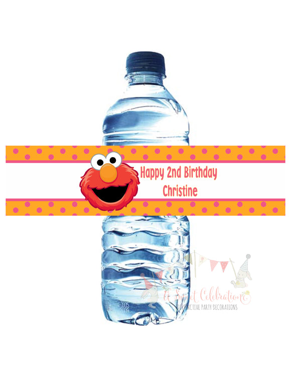 ELMO PINK WATER BOTTLE LABELS