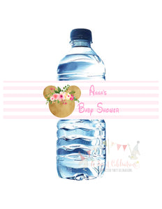 MINNIE MOUSE FLORAL WOODLAND - WATERPROOF WATER BOTTLE LABELS