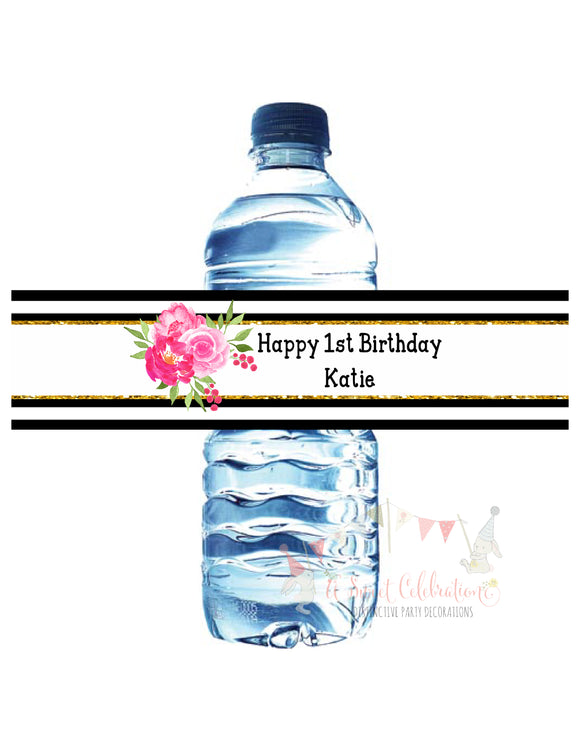 KATE FLORAL - BLACK AND PINK - PRINTABLE WATER BOTTLE LABEL