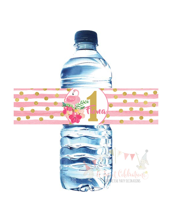 FLAMINGO PINK AND GOLD - WATERPROOF WATER BOTTLE LABELS