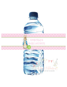 PETER RABBIT PINK - BIRTHDAY - WATERPROOF WATER BOTTLE LABEL