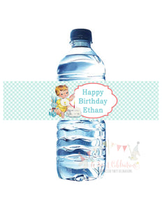 VINTAGE 1ST BIRTHDAY BLUE - WATERPROOF WATER BOTTLE LABELS