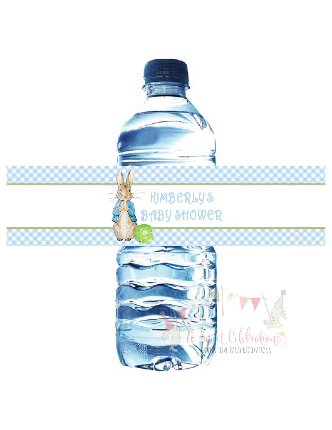 PETER RABBIT BLUE - BIRTHDAY WATER BOTTLE LABEL