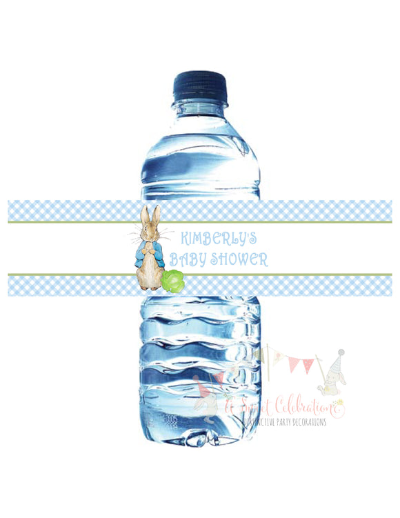 PETER RABBIT BLUE - BIRTHDAY - WATERPROOF WATER BOTTLE LABEL