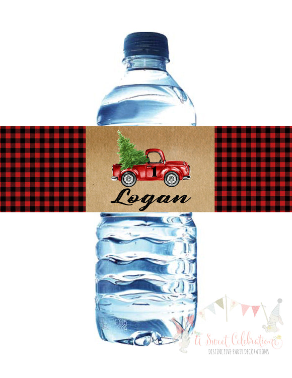 LITTLE RED TRUCK WITH CHRISTMAS TREE - WATERPROOF WATER BOTTLE LABEL
