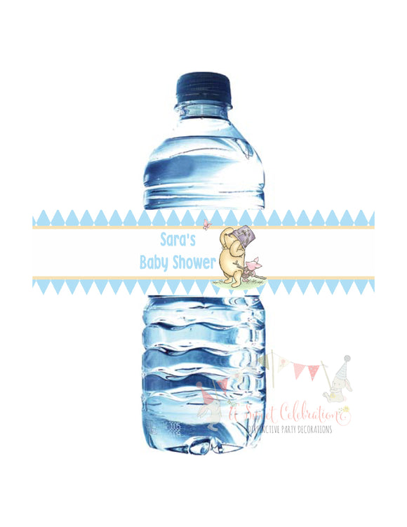 WINNIE THE POOH AND PIGLET BLUE - WATER BOTTLE LABEL