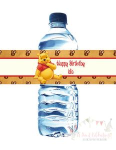 WINNIE THE POOH VINTAGE - BIRTHDAY - PRINTABLE  WATER BOTTLE LABEL