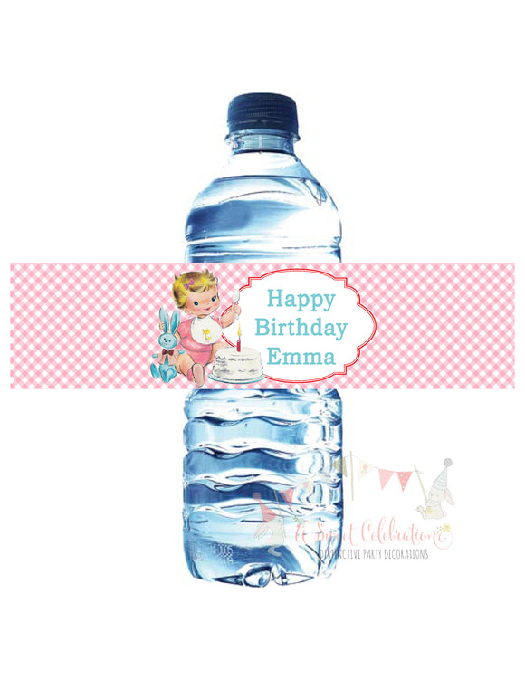 VINTAGE 1ST BIRTHDAY PINK - WATERPROOF WATER BOTTLE LABELS
