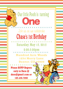 WINNIE THE POOH AND FRIENDS - PRINTABLE BIRTHDAY INVITATION - FREE MATCHING THANK YOU