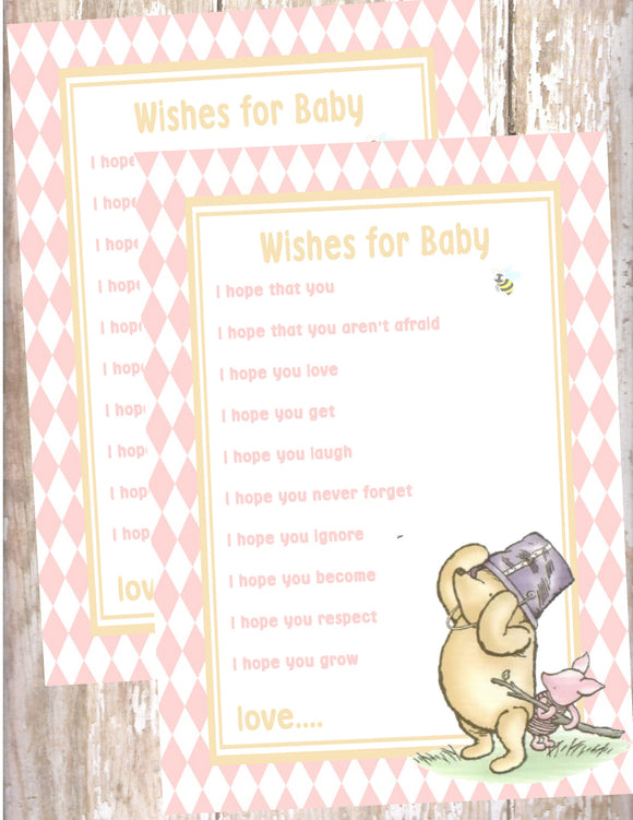 WINNIE THE POOH AND PIGLET PINK - BABY SHOWER - PRINTABLE WISHES FOR BABY CARD - JPG/PDF